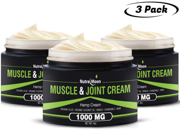 3 Packs Organic Hemp Muscle & Joint Cream 1000 MG Made In The USA 12 OZ